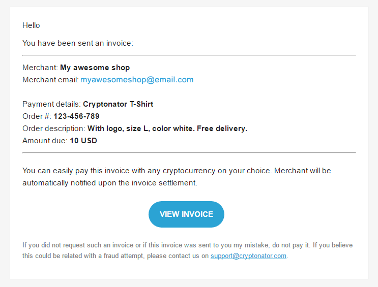 Send Email Invoice Cryptonators Help Center - Email for invoice payment